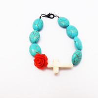White Cross and Red Flower Mexican Vintage Inspired Bracelet