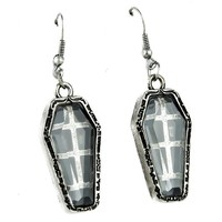 Antique Silver Finish Coffin Earrings Catacomb Cemetery Jewelry