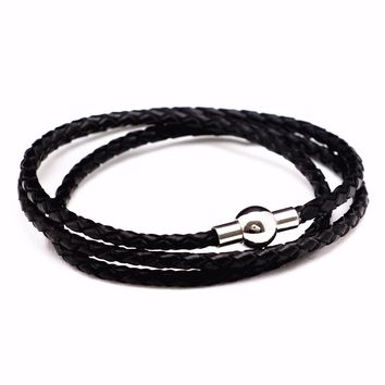 Never Fade 316 Stainless Steel Men Leather Bracelet Jewelry Man Wristband Charm Braclet For Male Accessories Hand Cuff
