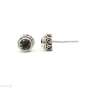 9mm Genuine Rainbow Mystic Topaz Sterling Silver Earrings
