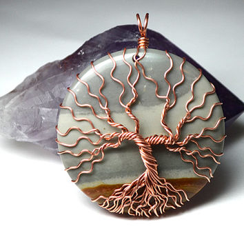 Succor Creek Jasper Tree of Life Pendant Landscape Pendant Bare Copper Wire Wrapped Tree Necklace Yggdrasil Celtic  Family Tree Necklace