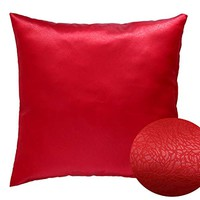 "Red 18"" x 18"" Decorative Decorative Textured Satin Cushion Cover Throw Square Pillowcase for Chair Sofa Living Room Accent Pillow"