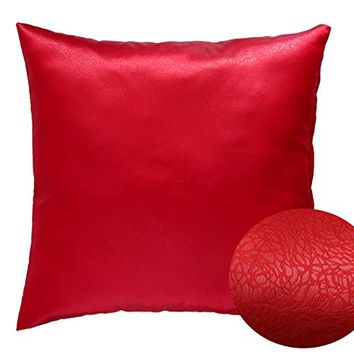 """Red 18"""" x 18"""" Decorative Decorative Textured Satin Cushion Cover Throw Square Pillowcase for Chair Sofa Living Room Accent Pillow"""