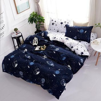 MYRU Home Textile Modern Space Ship 4pcs Cheap Bedding Sets Children's Beddingset Bed Linen Duvet Cover Bed Sheet Pillowcase Bed
