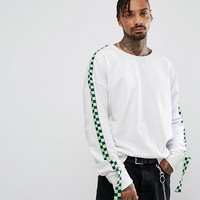 Granted Oversized Sweatshirt In White With Taping at asos.com