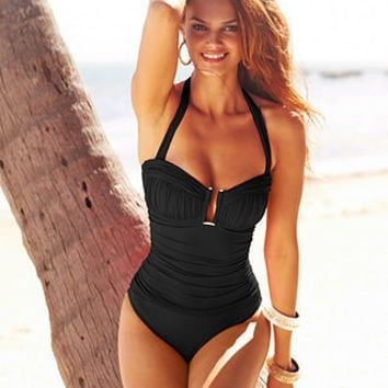 Bleu by Rod Beattie Swimsuit, Ruched Halter One-Piece - Womens Swimwear - Macy's