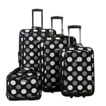 4-Piece Luggage Set - Black & White Polka Dot - Kmart