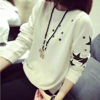 Pretty cloth women autumn winter sweatershirt long sleeved T-shirt girl black white thin  blouse sweater shirt cool casual tops = 1920262212