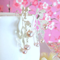 Silver leaf branch pink pearl earrings