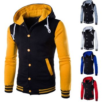 Mens Baseball Varsity Jacket College University Letterman Jacket Hoodie Coats