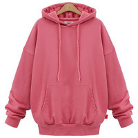 Pink Drop Shoulder Pouch Pocket Hoodie