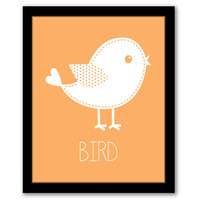 Bird Wall Art, Nursery Wall Art, Orange Art, Kids Room, Baby Gift, Girls Room, Kids Wall Art, Girls Nursery, Playroom Art, INSTANT DOWNLOAD