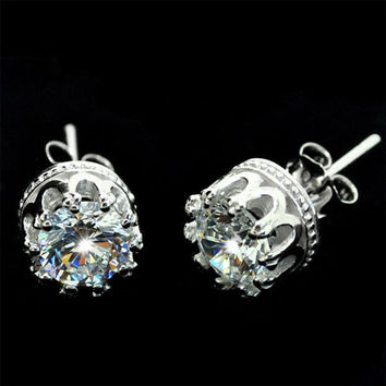 Silver Transparent Crown Studs