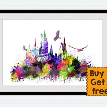 Hogwarts castle poster Harry Potter print Hogwarts castle watercolor print Harry Potter colorful poster Home decor Kids room wall art  W233