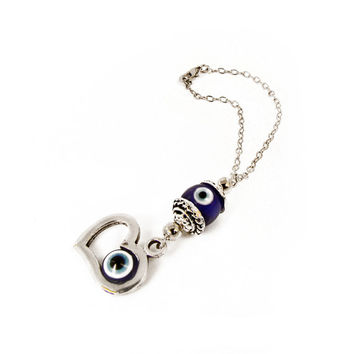 Car Mirror Hanging, Evil Eye Protection Wall / Door Hanging, Good Luck Eye Charm, Blue Glass Eye Bead, Greek Mati, Hamsa Amulet