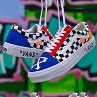 VANS x OFF-WHITE co-branded street fashion men and women street trend canvas skate shoes