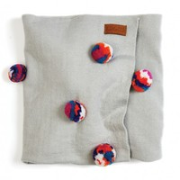 Grey Multi Colour Pom Pom Baby Blanket by Kip & Co | Homewares | Blankets & Throws - Hunters and Gatherers