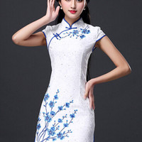Plus Size Cheongsam Floral Print Lace Vintage Dress
