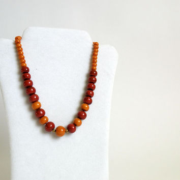 Yellow-Gold-Brown Bead Necklace made with Handmade Polymer Clay Beads
