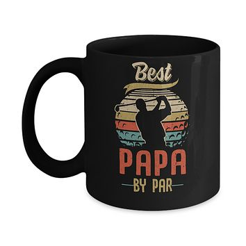 Vintage Best Papa By Par Fathers Day Funny Golf Gift Mug