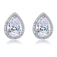 COUTURE 1 Carat Pear Cut Simulated Diamond Stud Clip On Earrings