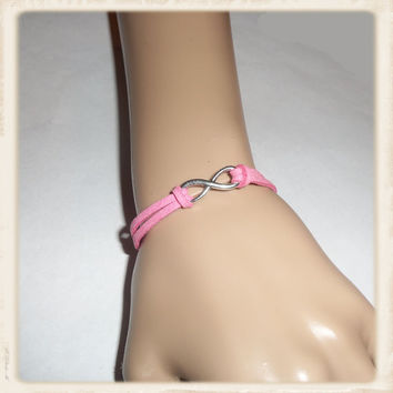 Friendship bracelet, Infinity charm bracelet, pink cord braided bracelet, adjustable rope jewelry for your BFF