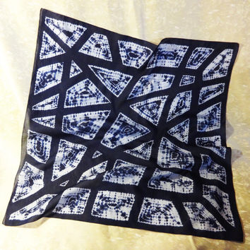 "Square bandana Blue Geometry. Men Women Unisex Head Neck Hand-dyed Shibori Scarf Shawl. Silk Cotton. Indigo Blue White. 68x68cm, 27x27""Ready"