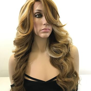 Blonde Balayage Curls with Side Bangs Hair Lace Front Wig 22""