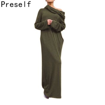 Preself Loose Hooded Maxi Dresses Women's Knit Off-Shoulder Wrap Dress Casual long Sleeves Plus Size Party Vestido Autumn Winter