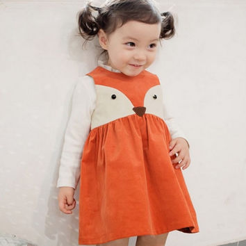 Toddler Sweet Kids Girls Fox Style Casual Dresses Sleeveless Spring Summer Fall Baby Dresses Orange Color Dress