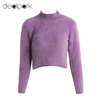 Women Sweaters And Pullovers Knitted Fluffy Sweater Jumper Crop Top Turtle Neck Long Sleeve Mohair Slim Pullover Knitwear