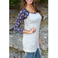 Floral Long Sleeve Patchwork Round-neck T-shirts [6338702596]