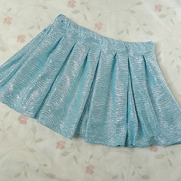 READY TO SHIP Small Blue Silver Mermaid Skater Skirt