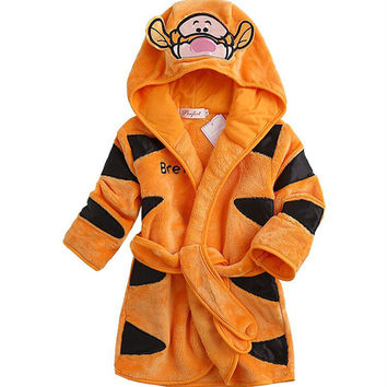 Hot Sale Children Hooded Baby Boys Girls Flannel Lovely Cartoon Animal Home Dress Bathrobes for Children Cartoon