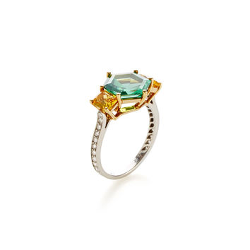 Mint Tourmaline, Yellow Sapphire, & Diamond Ring