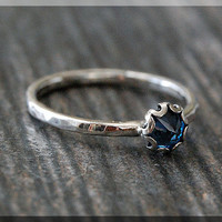 Blue Zircon Ring, READY TO SHIP, Size 6.5, December Birthstone Ring, Mini Inverted gemstone ring, Sterling Silver Ring, Zircon Stacking Ring