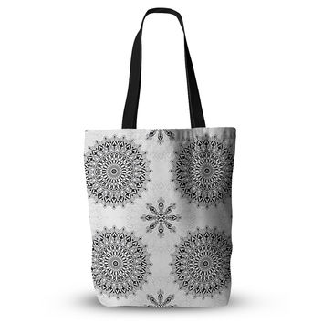 "Julia Grifol ""Black Mandala"" White Black Tote Bag"