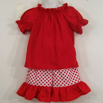 Girls Short Set -Red Peasant Top--#249