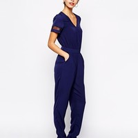 Girls on Film Sheer Insert Jumpsuit at asos.com
