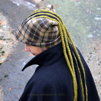 Felt hat for women and men Fantasy hat with hand felted woolen dreadlocks Fall and winter wear Black & olive green plaid wool blend fabric