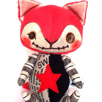 Gothic Zombie Kitty Cat Doll OOAK Handmade Patchwork Primitive Rustic Folk Art Painted Doll