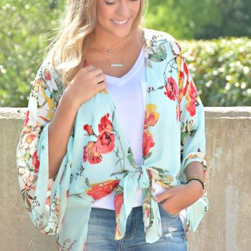 Across The Way Kimono - Mint