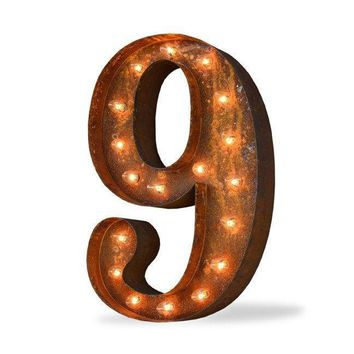 "24"" Number 9 (Nine) Sign Vintage Marquee Lights"