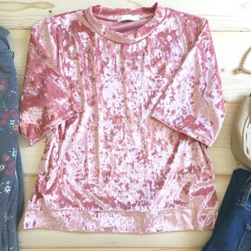 Blush Short Sleeved Crushed Velvet T Shirt
