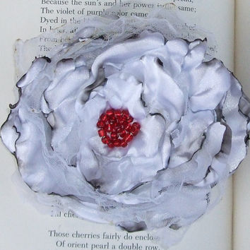 White Satin Flower Accessory Hair clip or Pin by OurPlaceToNest