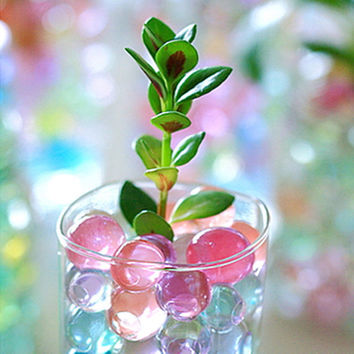 100pcs Multicolor Pearl Crystal Soil Water Beads Home Decor Flower Bio Gel Ball Mud Grow Magic Jelly Balls Round Shaped Rainbow Wedding