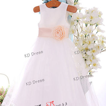 ON SALE Cute Ivory Wavy Tulle Skirt Satin Flower Girl Dress Children Birthday Party Dress Kids Dress with Ribbon/Flower(Z1032)