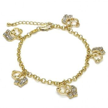 Gold Layered 03.63.1356.07 Charm Bracelet, Elephant and Rolo Design, with White Crystal, Polished Finish, Gold Tone