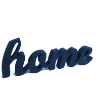 Rustic wood sign HOME, blue home decor, indigo wooden decor, navy blue sign, shelf sign, living room decor, shabby sign decor, modern decor