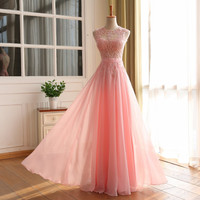 Elegant A line Long Prom Dresses Sexy Open Back Vestido De Festa Longo Vintage Evening Dress Party Gowns 2016 Real Image